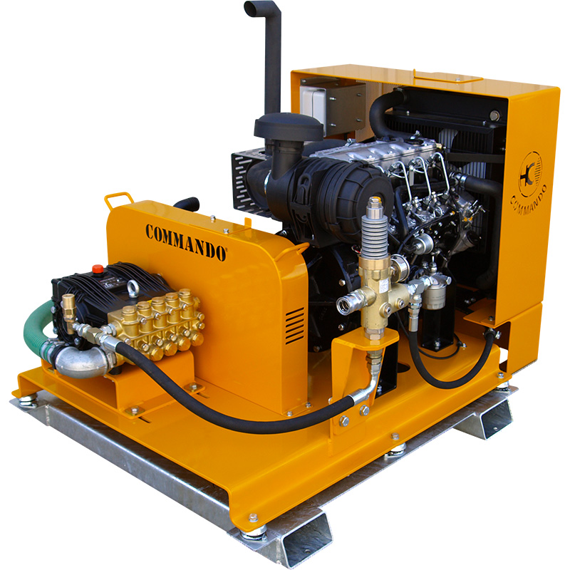 Diesel skid mounted pressure washer