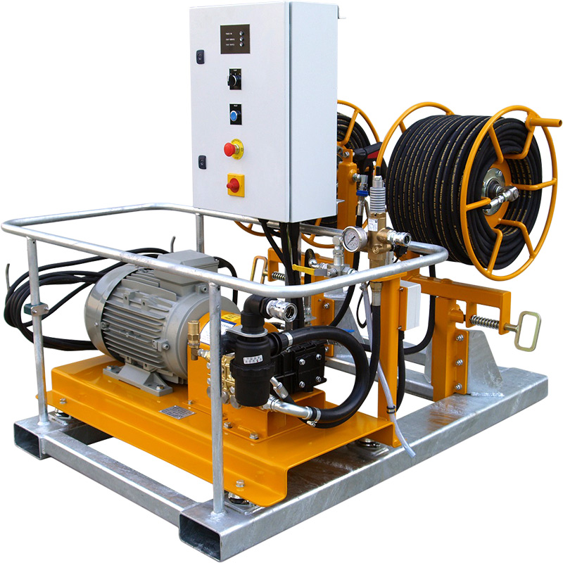 The Commando ES series of electric powered, skid unit mounted high pressure washers.